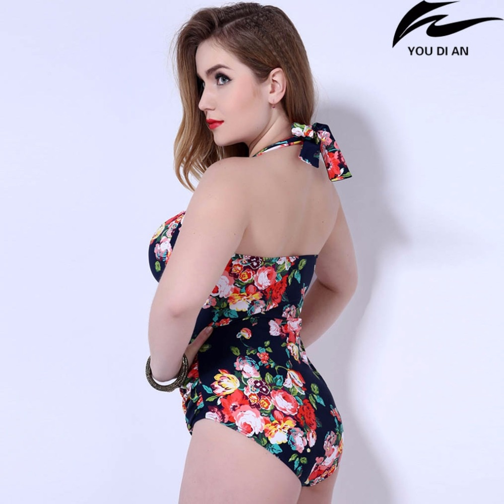 hot push up plus size swimwear one piece  women  swimsuit Russian swimming swim suit larges big size floral beach bathing wear