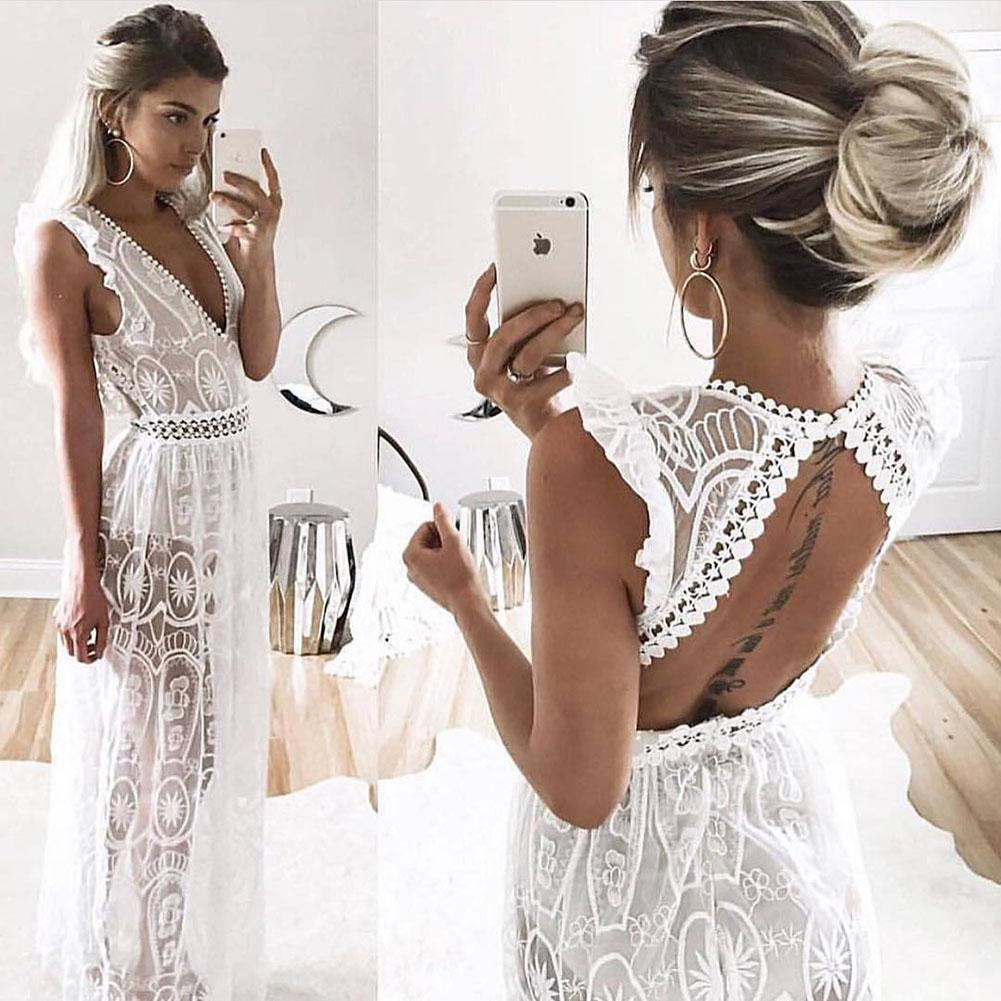 Sexy Hollow White Lace Dress Women Spring High Waist Sleeveless Backless Dress Elegant Christmas and Maxi Long Dress