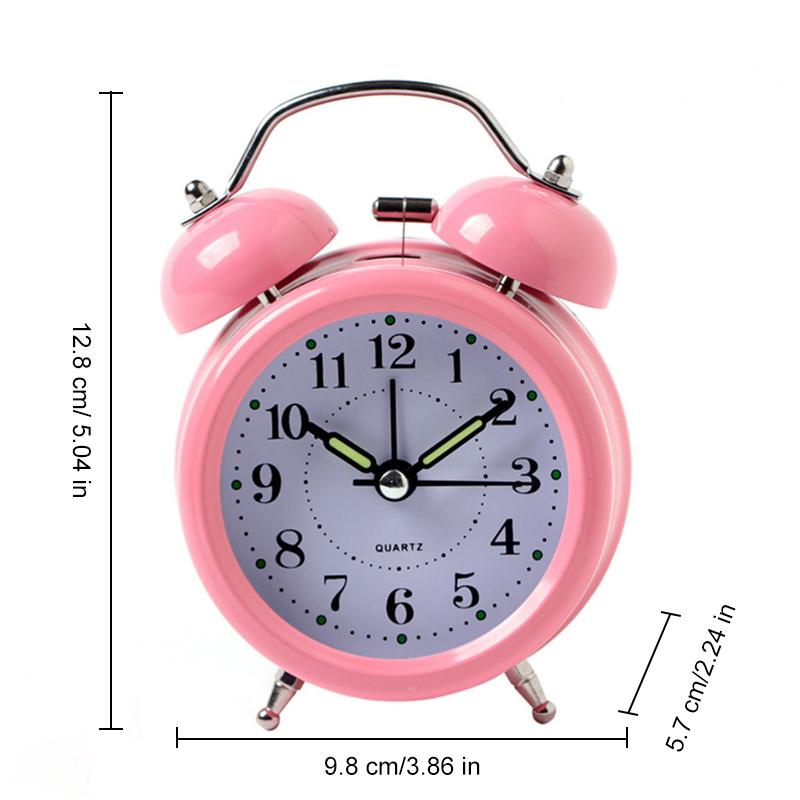 3 Inch Metal Double Bell Silent Alarm Clock Bedside Desk Mute Table Snooze Alarm Clock with Nightlight