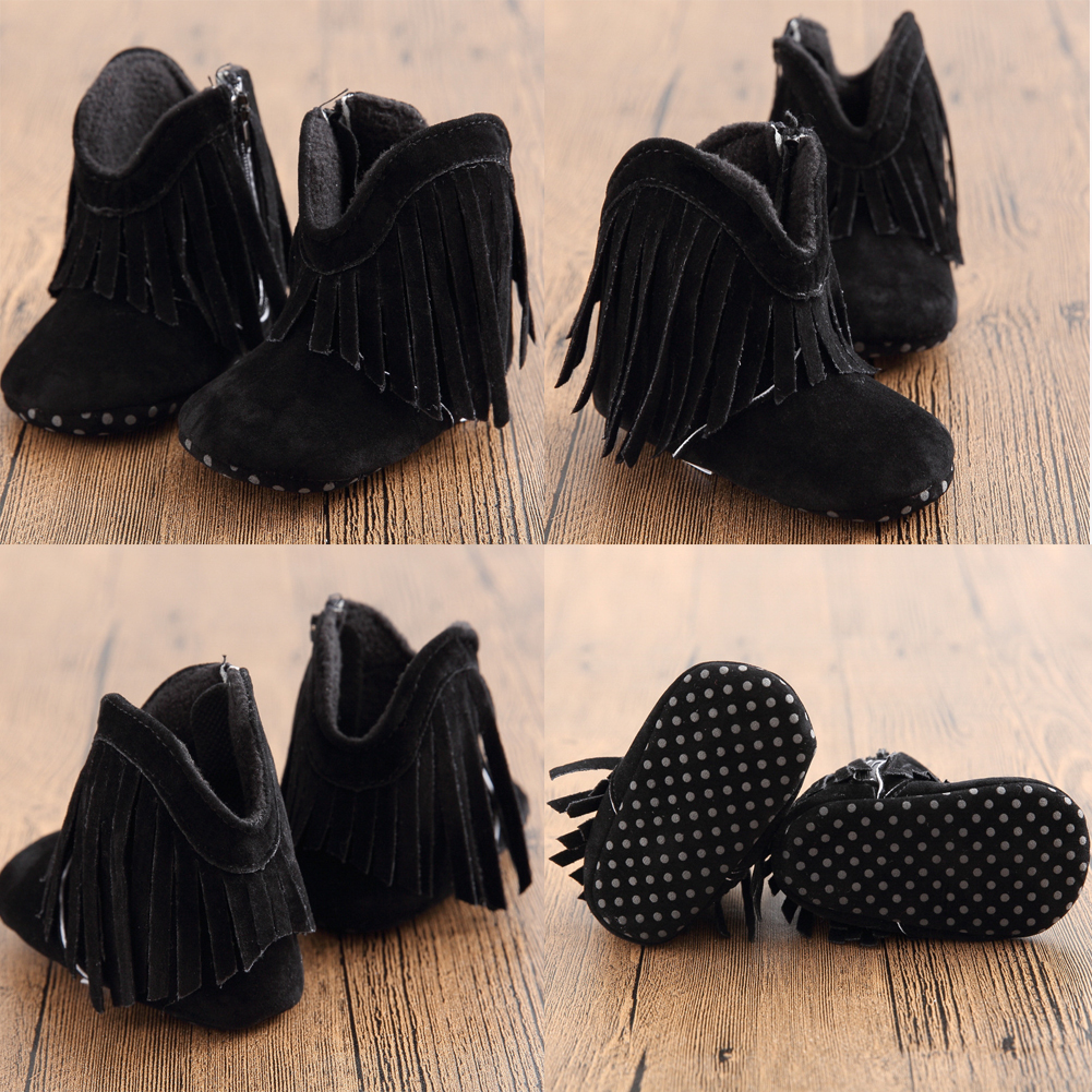 Infant Newborn Baby Girl Soft Sole Boots Toddler Tassel Crib Shoes Autumn Winter
