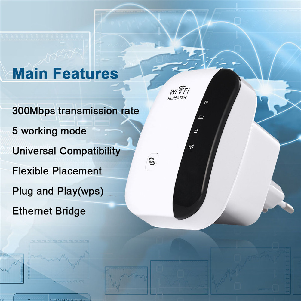300Mbps Wireless WIFI Repeater 2.4G AP Router Network Signal Booster Extender Amplifier