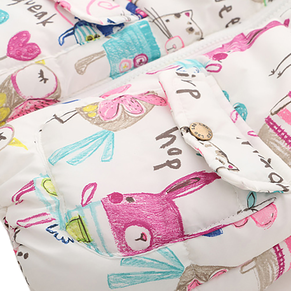 Baby Girl Winter Animal Graffiti Thick Princess Girls Cartoon Vest Children Clothes