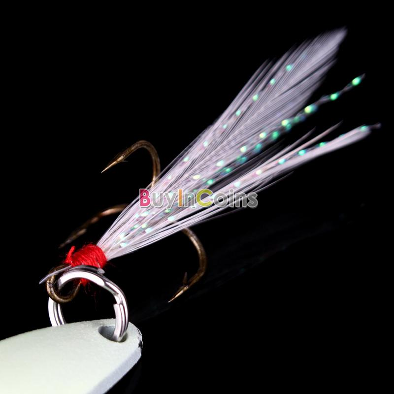 1pcs Fish Fishing Lure Hard Baits Luminous Night Sequins With Feather Hook