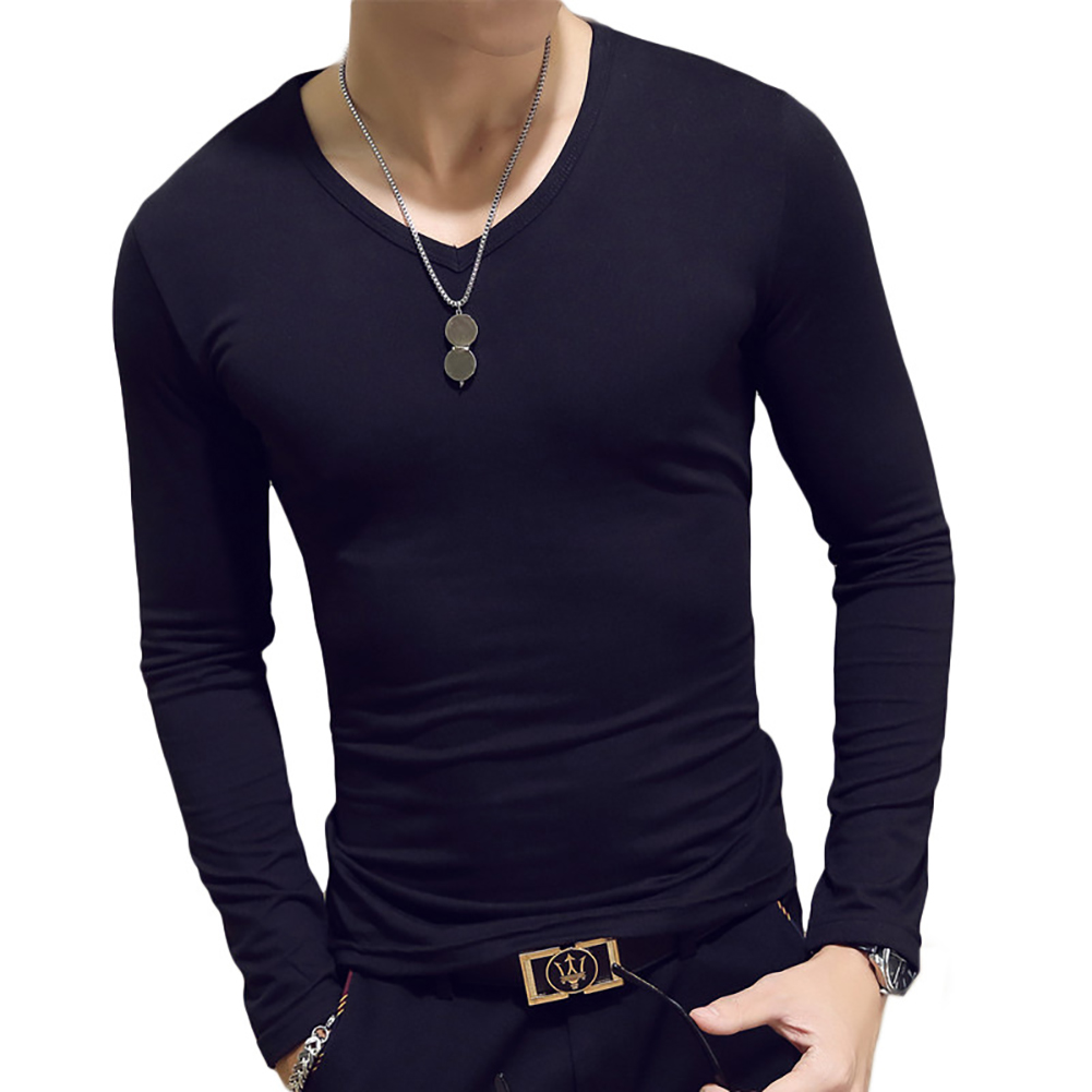 Fashion Men Casual Slim Solid Color T-shirt Mens Long Sleeve O Neck V Neck T-shirts