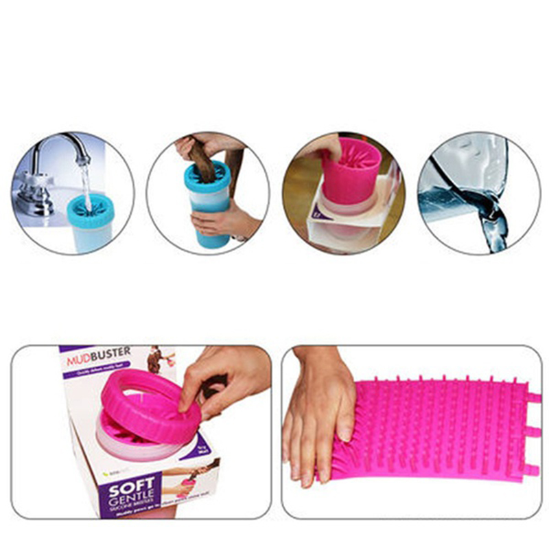 Portable Pet Dog Foot Cleaning Brush Cup Paw Cleaner Tools Small/Large