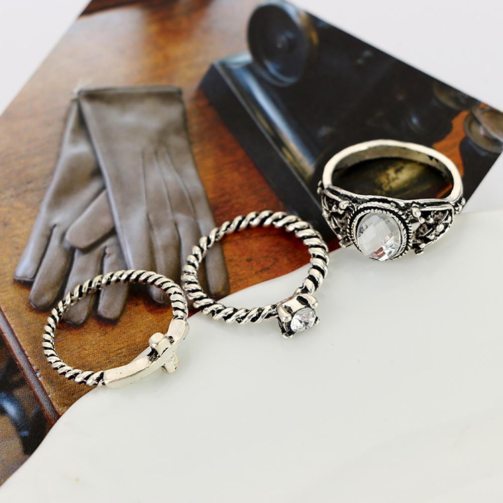 7 Pcs/Set Women Bohemian Gemstone Leaves Crystal Rhinestone Hollow Caved Geometric Diamond Joint Knuckle Rings