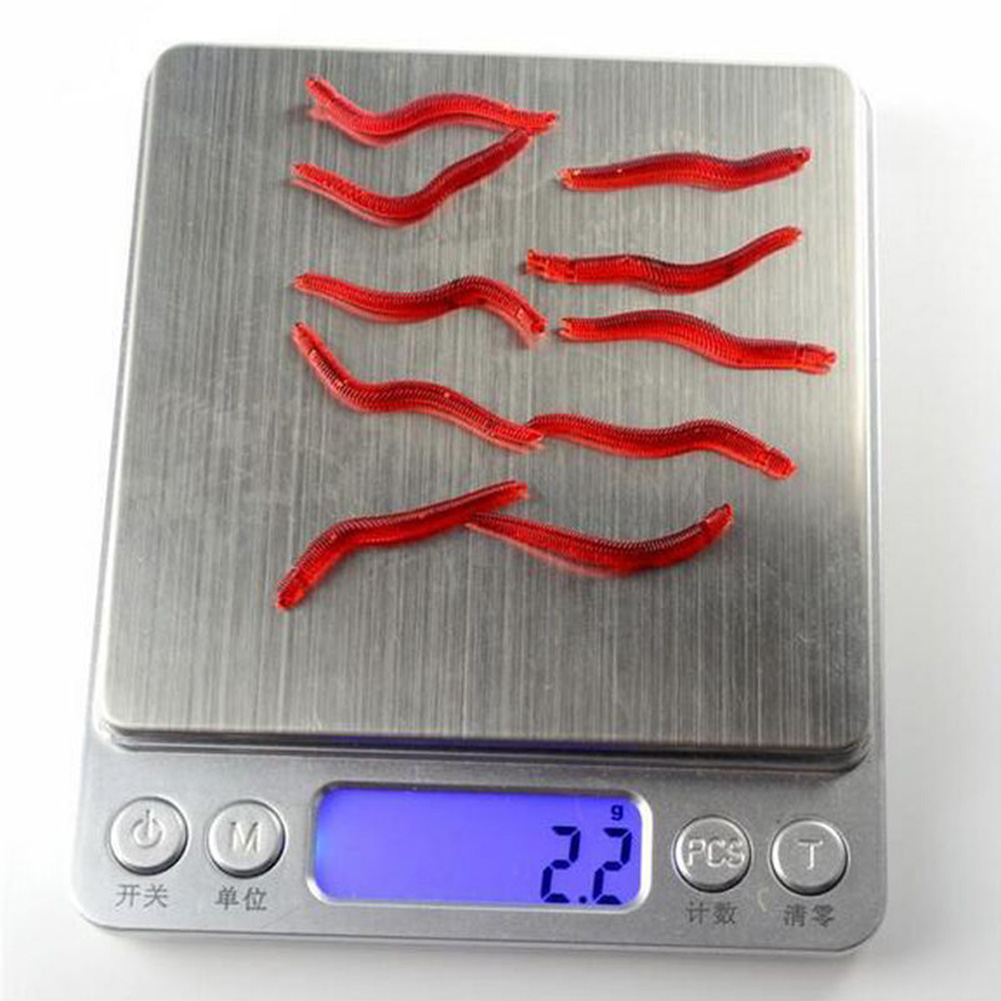 4cm False Red Worm Bait Earthworm Simulation Sea Fishing Soft Lures Crankbaits Hooks Baits Tackle