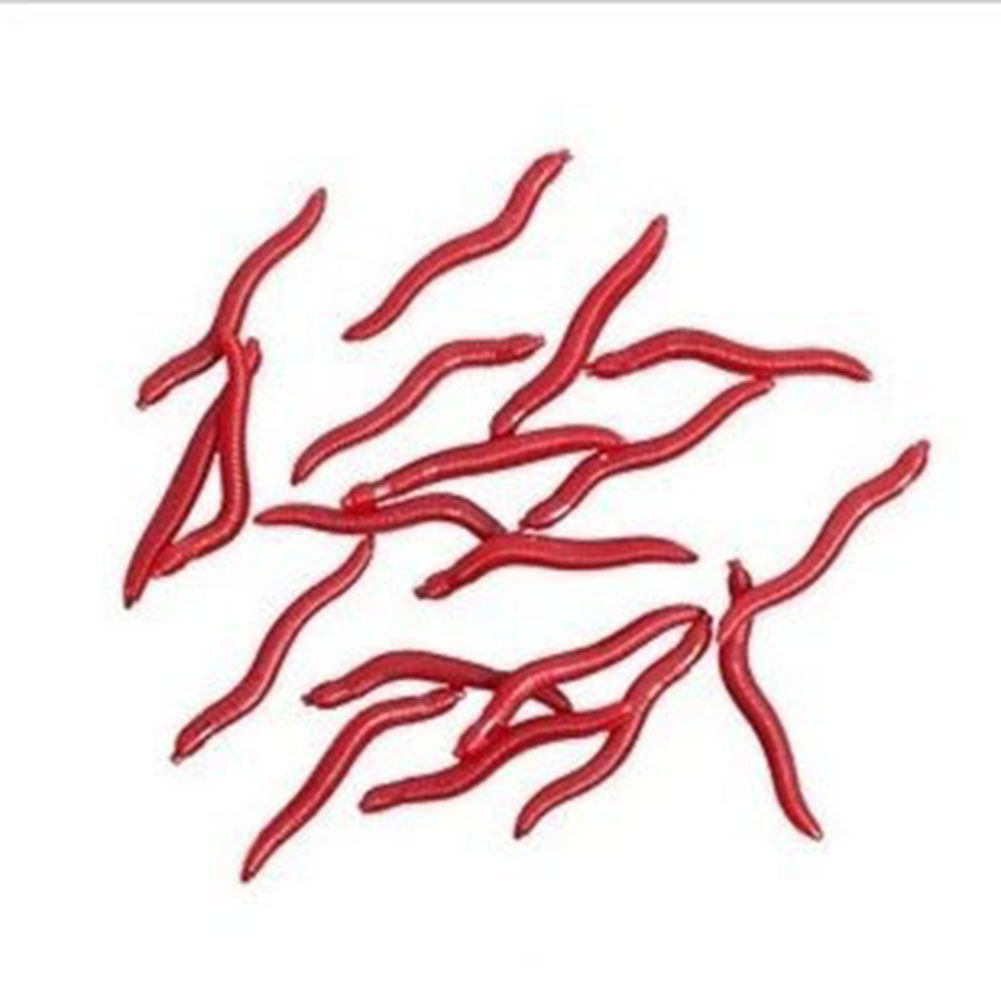 4cm False Red Worm Bait Earthworm Simulation Sea Fishing Soft Lures Crankbaits Hooks Baits Tackle
