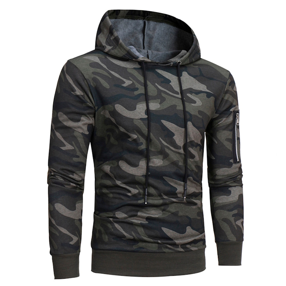 Men Camouflage Hoodie Sweatshirt Long Sleeve Hooded Tops Jacket warm autumn winter christmas men casual Coat Outwear O.19