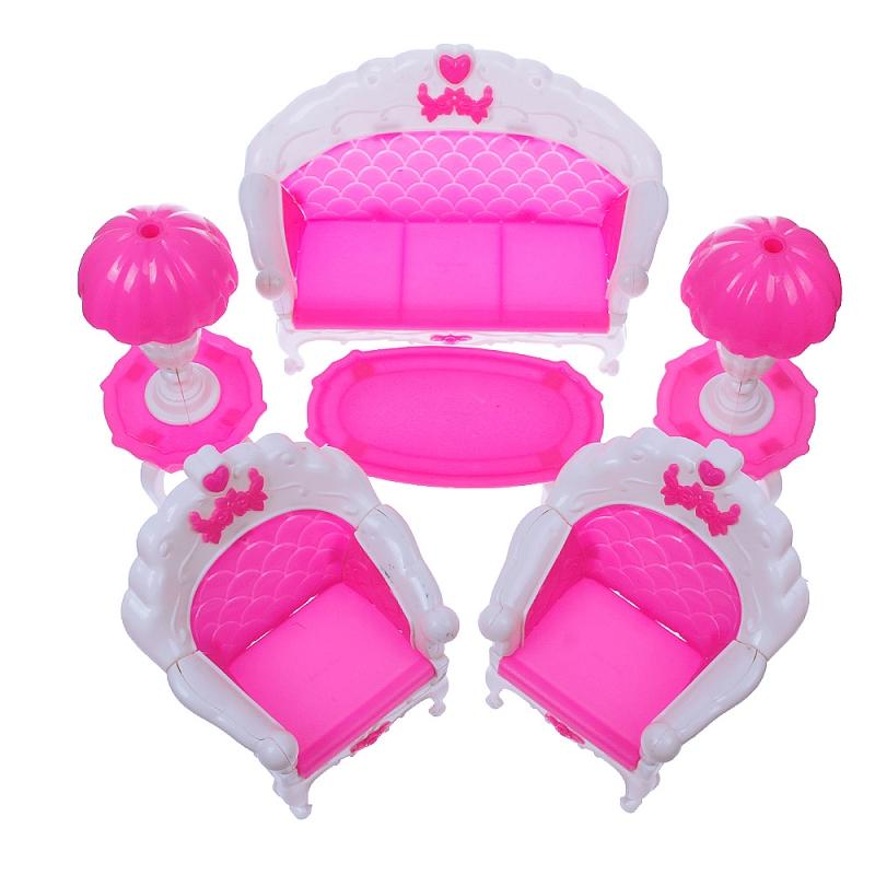 6 pcs Dollhouse Furniture Living Room Parlour Sofa Set for Barbie Accessories