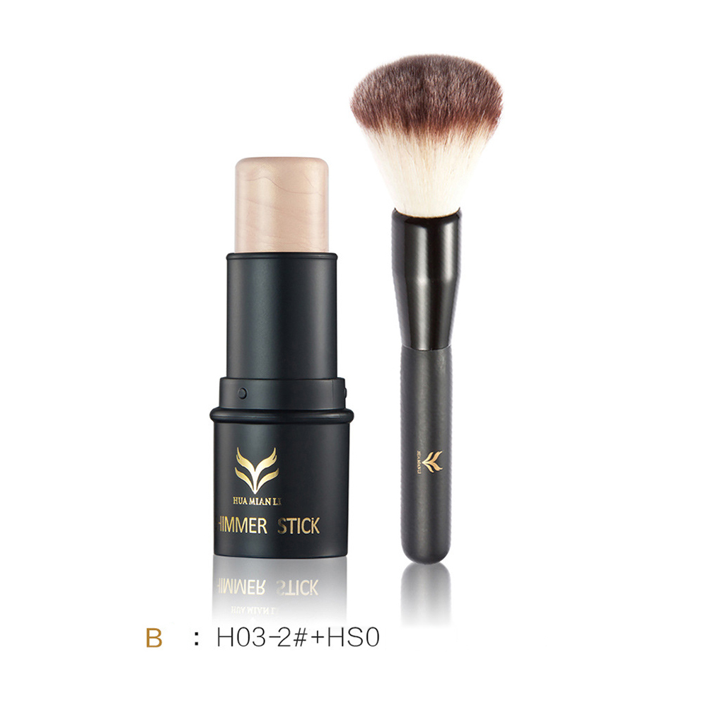 HUAMIANLI New Face Makeup Highlighter Shimmer Stick Contour Waterproof Powder Highlighting Bronzer With Brush Set