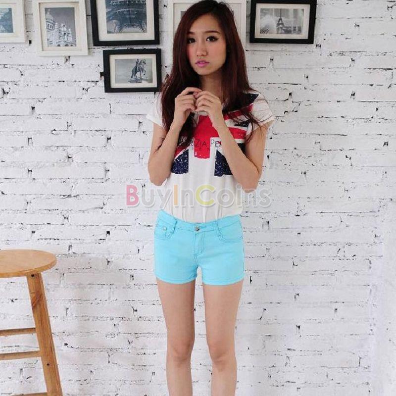 Hot Women's Casual Candy Colour Shorts Short Jeans Pants 4 Size Sky Blue