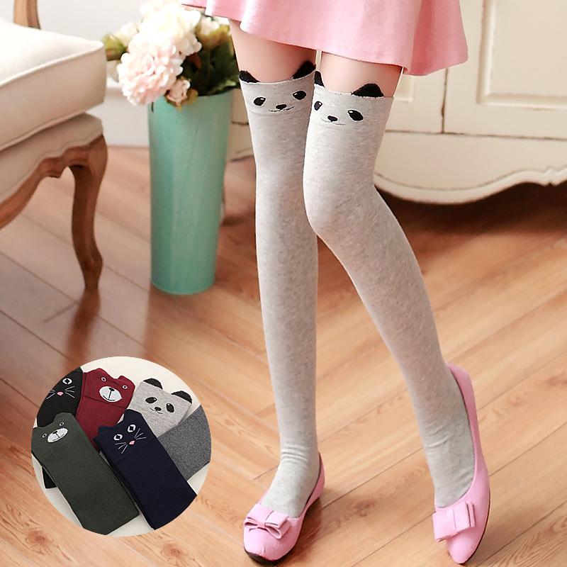 Women Fashion Cute 3D Cartoon Animal Pattern Thigh Stockings Over Knee High Knit Socks