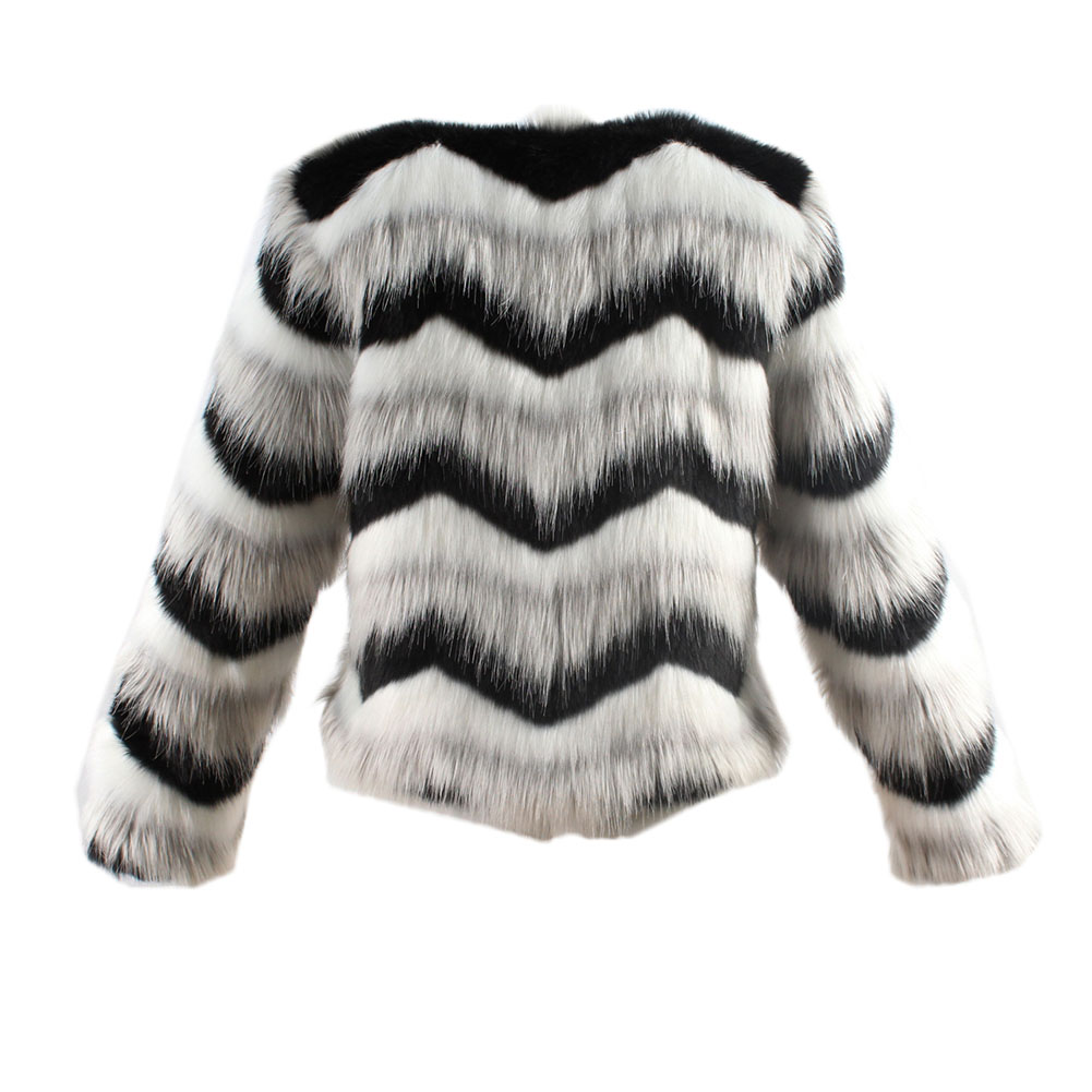 Women Warm Artificial Fur Coats For Women Retro Simple Fashionable Black And White Wave Jacket