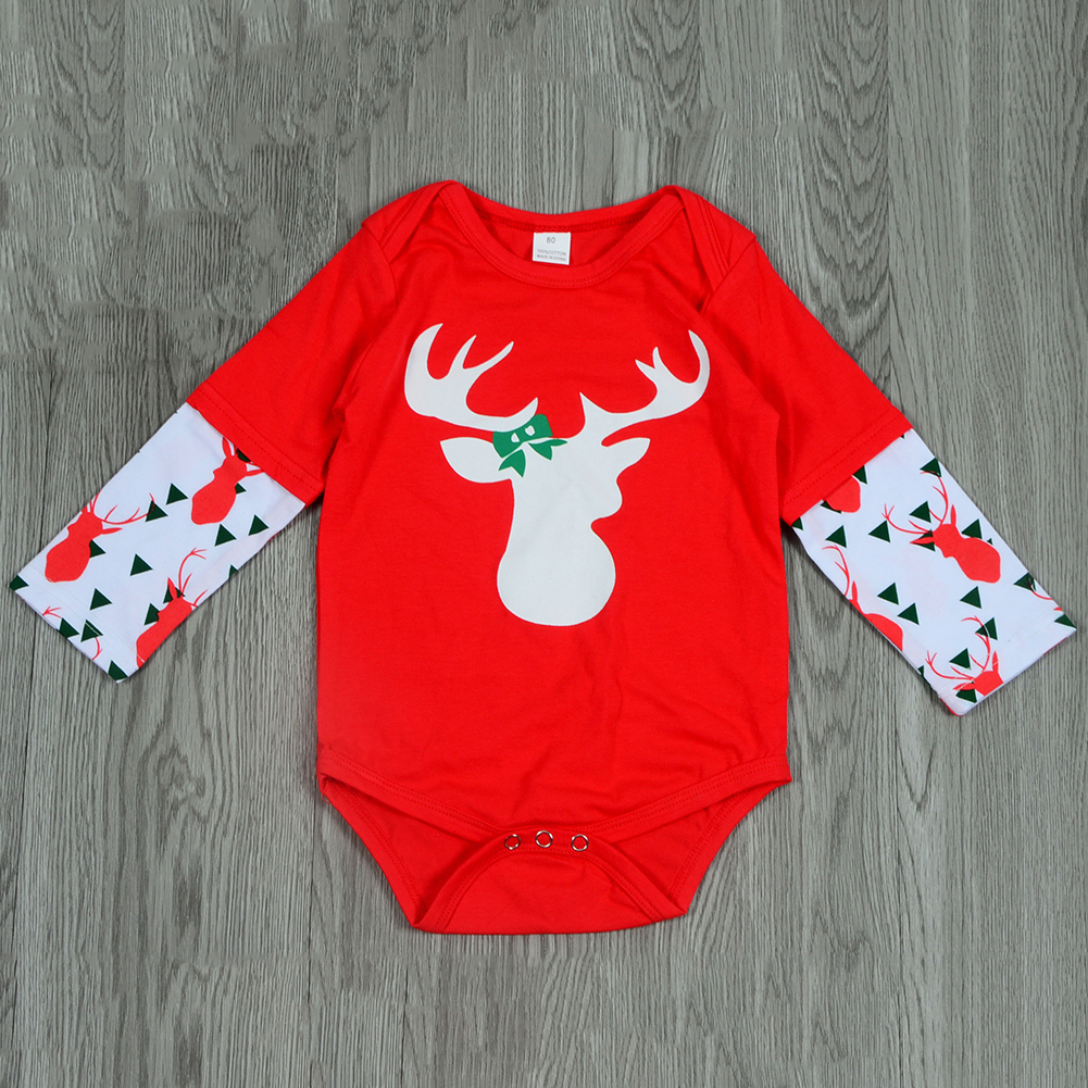 New 3Pcs Christmas Newborn Baby Boy Girl Tops Romper Pants Hat Outfits Set Clothes