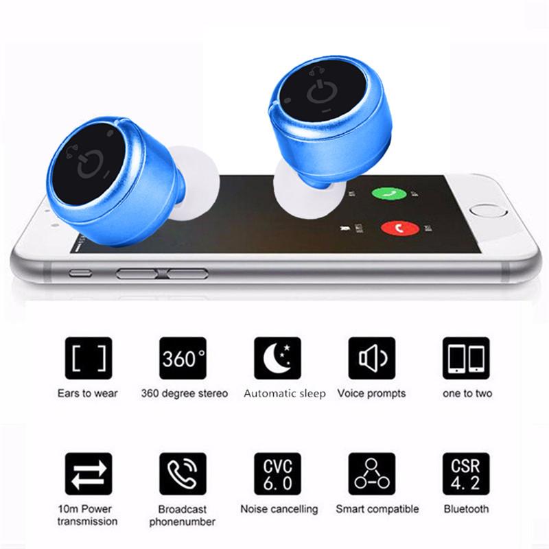 Mini X2T Wireless Bluetooth V4.2 Twins Binaural HIFI Stereo Headphone Earphone Earbuds with Mic