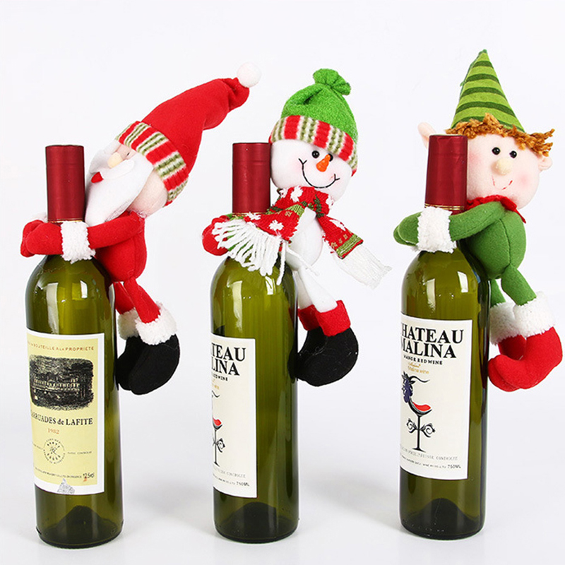 Christmas Santa Snowman Elf Wine Bottle Cover Party Xmas Ornaments Decor