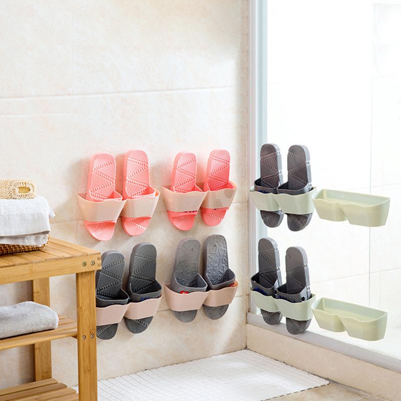 Home Plastic Paste Super Glue Wall Hanging Hanger Shoe Slippers Shelf Storage Organizer Rack