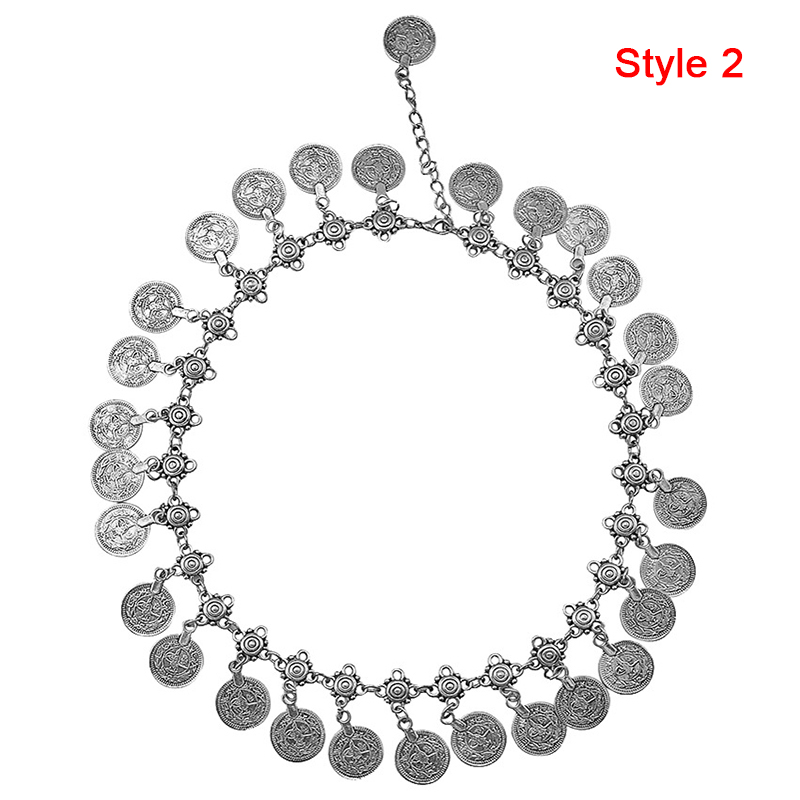Women Vintage Silver Coins Pendant Choker Chain Statement Bib Necklace Jewelry
