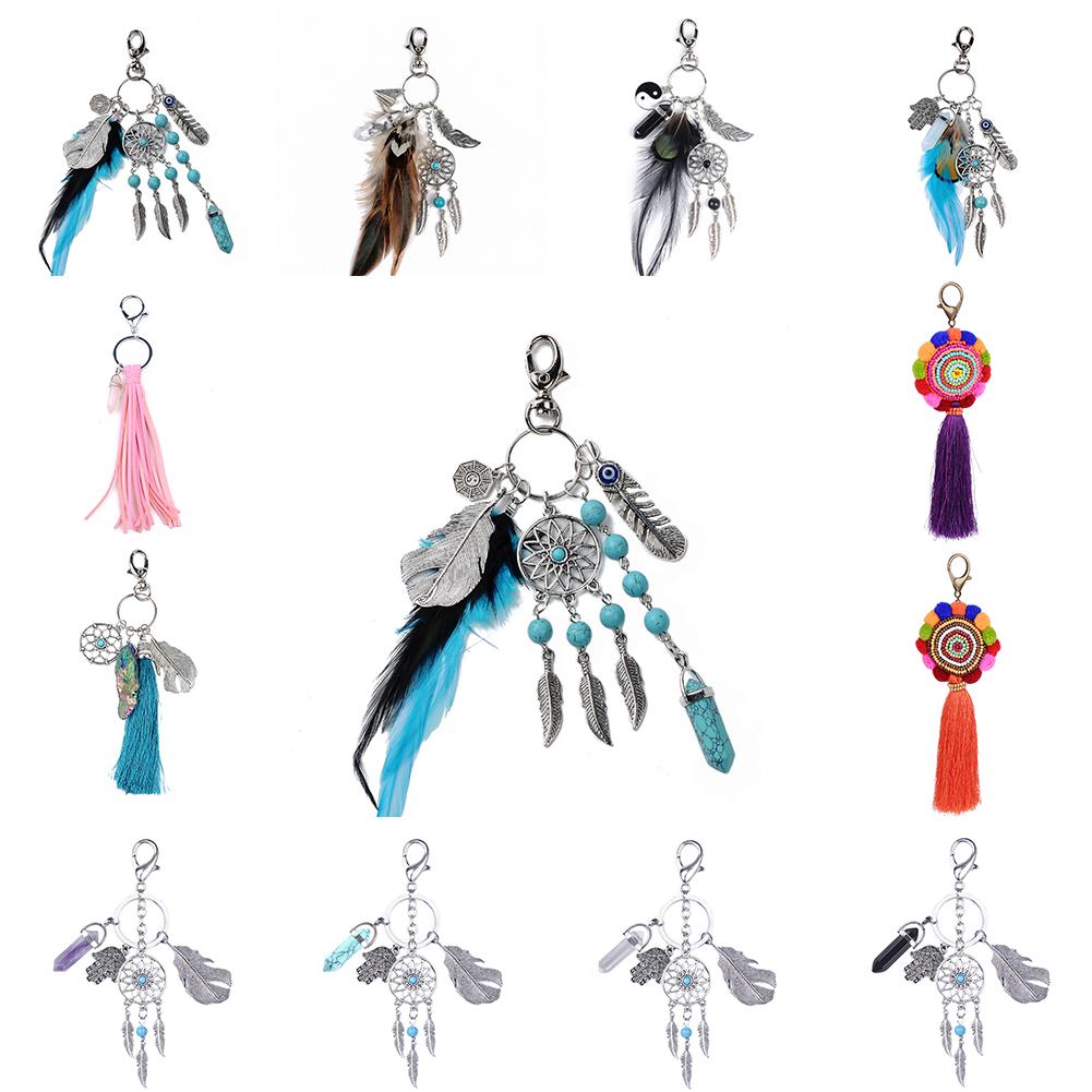 Natural Stone Tassel Keychain Retro Silver Jewelry Dream Catcher Keychain for Women