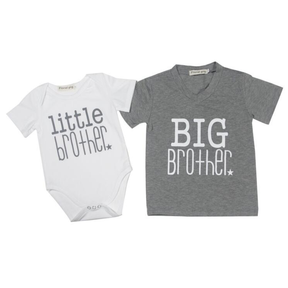 Baby Fashion Big Sister and Little Brother Letter Print Romper Jumpsuit Tops T-shirt