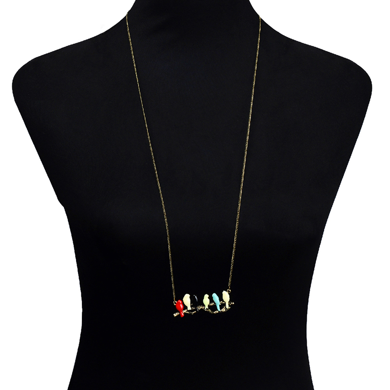 New Hot Women Love Birds Pendant Six Color Bird On Branch Chain Necklace Jewelry