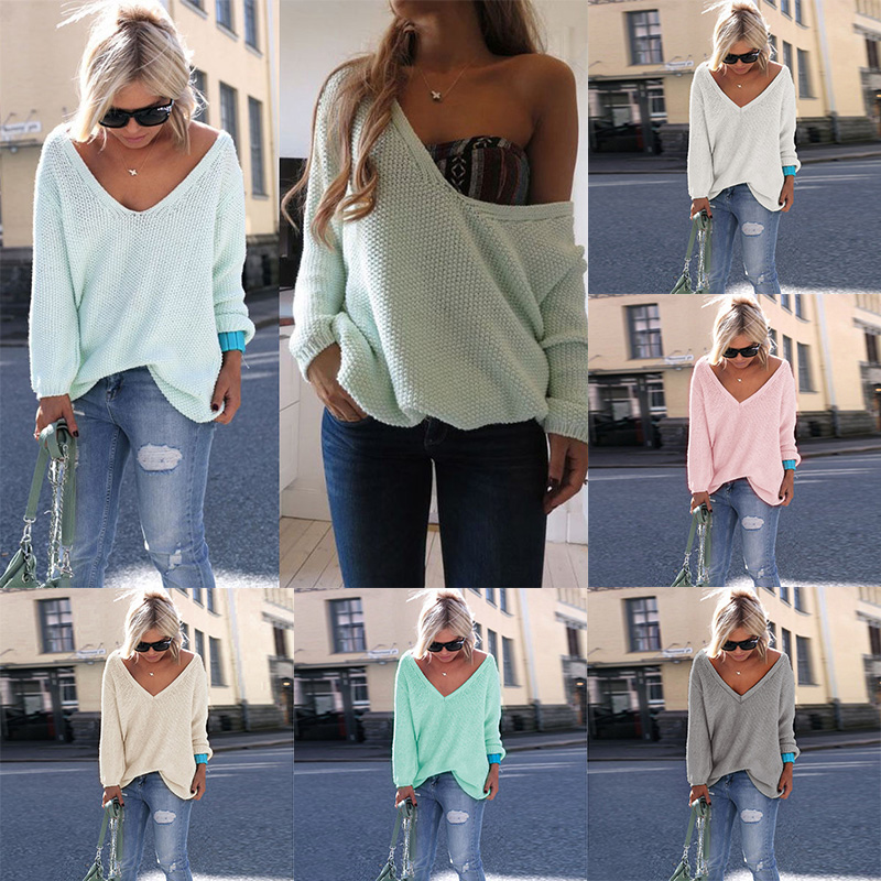 Winter Sweater Casual V-neck Women Loose Top Knitwear 6 colors Outwears Free size