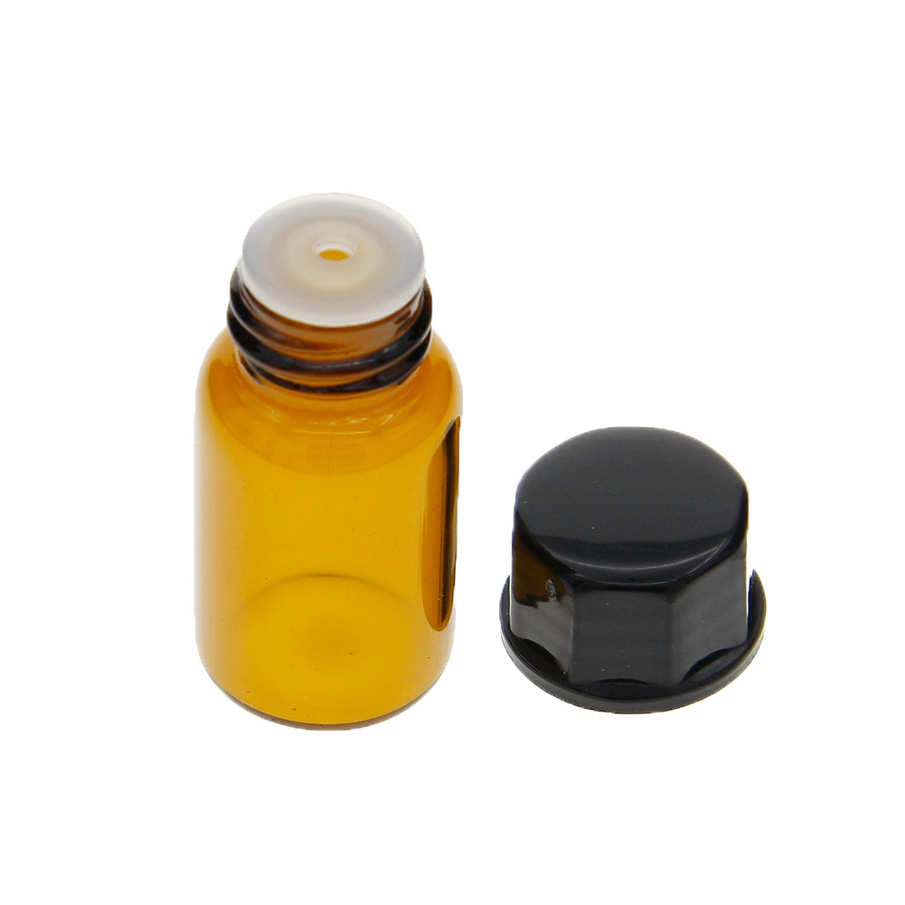 1 2 3ml Mini Empty Amber Glass Essential Oil Bottle with Orifice Reducer and Cap Brwon Glass Vials