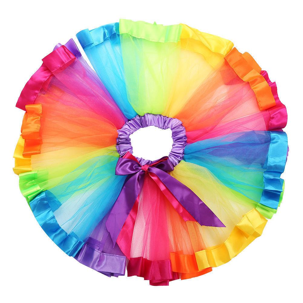 Baby Girls Rainbow Tutu Skirt Party Costume Fancy Tutu Pettiskirt 0-4 Months