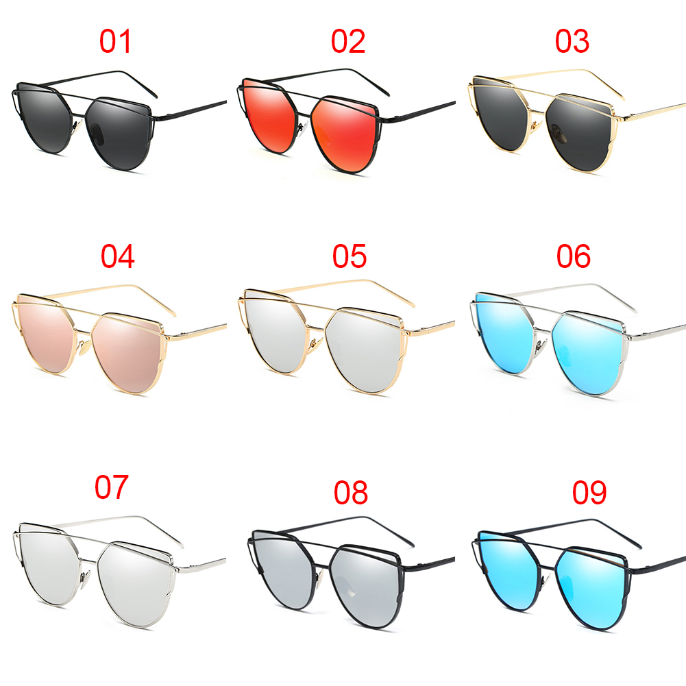 Fashion Women Twin-beams Photochromic Sun Glasses Golden Alloy Galss Frame Outdoor Glasses Cat Eye Sunglasses
