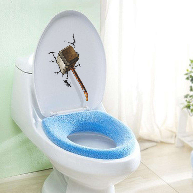 3D DIY Hammer Hitted Crack Decals Funny Toilet Seat Sticker Bathroom Home Decor