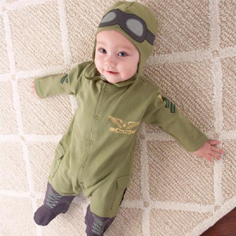 Baby boy girl pilot green romper bodysuit playsuit with hat