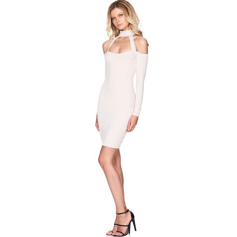 Halter Sexy Hollow Evening Night Club Dress Long Sleeve Women Vestidos