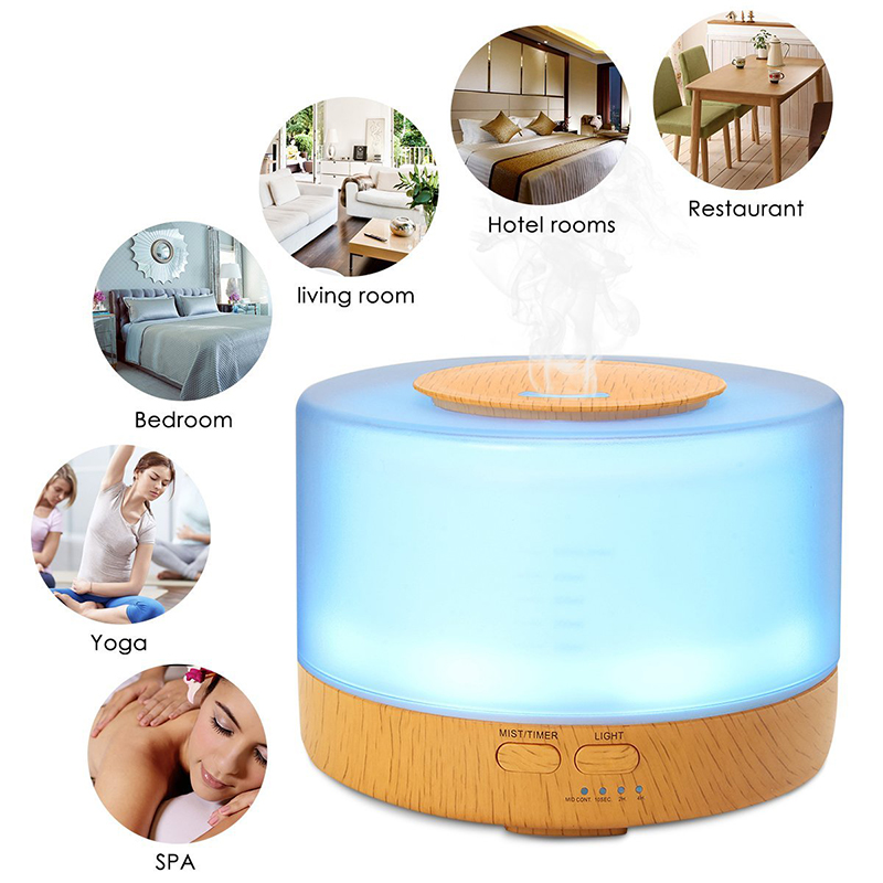 500ml LED Air Humidifier Essential Oil Diffuser Aromatherapy Ultrasonic Mist Maker Fogger Ultrasonic Aroma