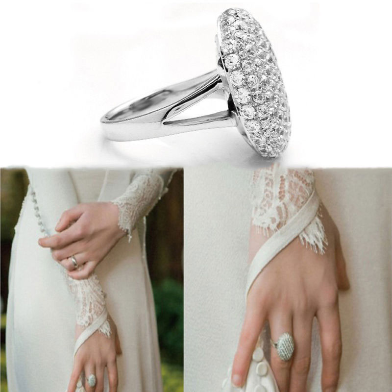 Fashion Women Silver Wedding Ring Engagement Rings Crystal Jewelry Size 6-10