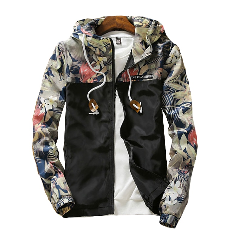 2018 new Floral Bomber Jacket Men Hip Hop Slim Fit Flowers Pilot Bomber Jacket Coat Men's Hooded Jackets Plus Size 4XL