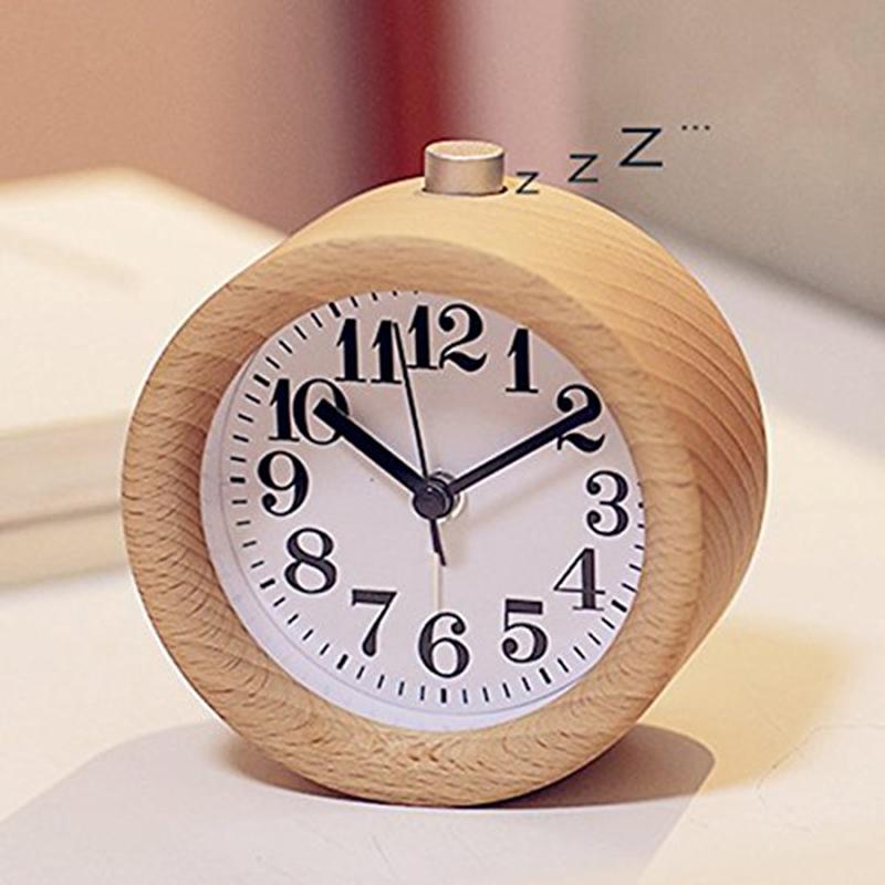 Classic Round Wood Digital Silent Alarm Clock Bedside Mute Table Snooze Alarm Clock with Nightlight
