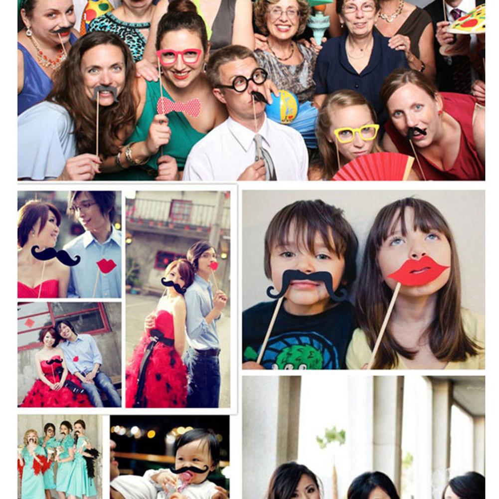 44pcs DIY Photo Booth Props DIY Kit Wedding Birthday Decorations Party Supplies