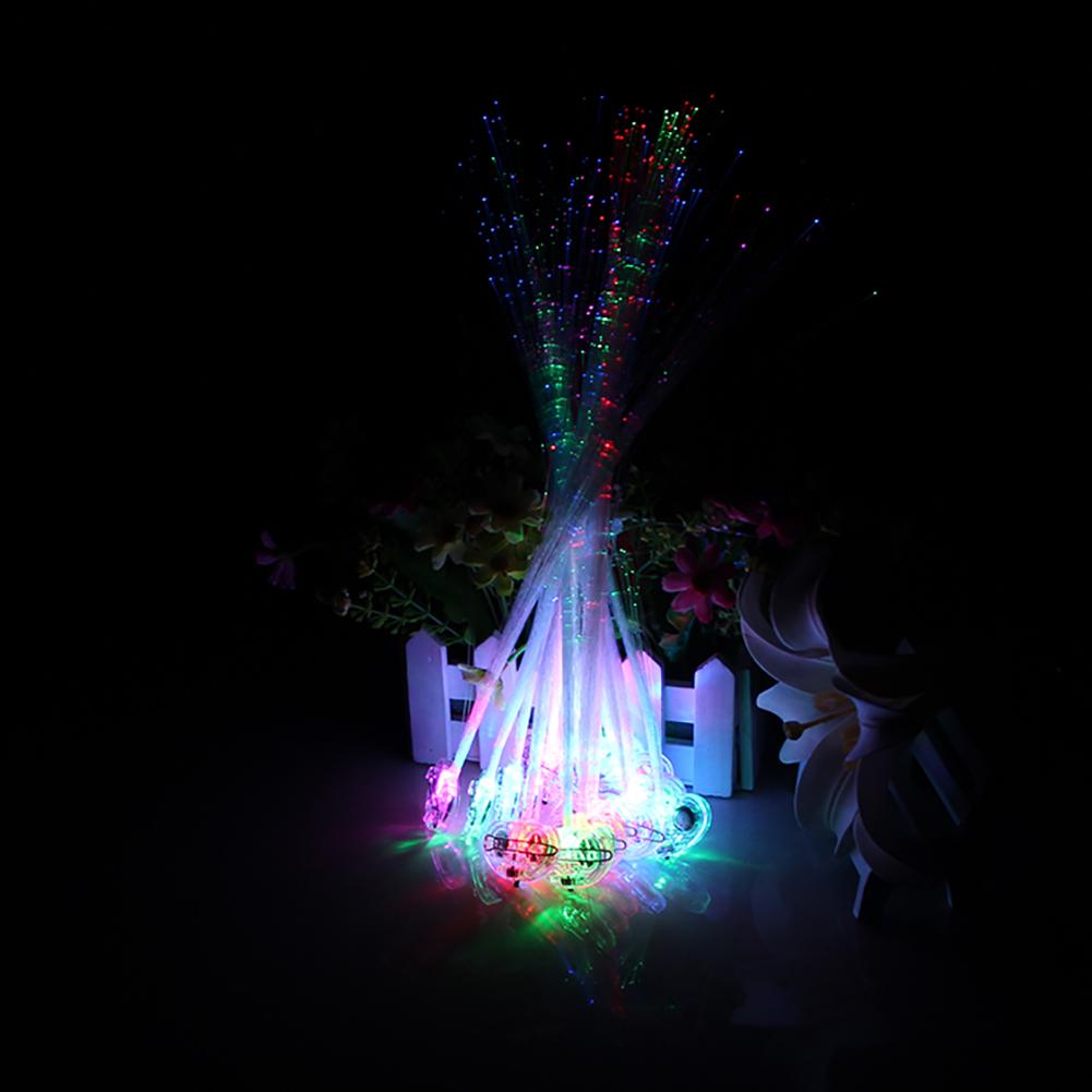 3Pcs LED Light-Emitting Fiber Optic Wire Hairpin Luminous Silk Braids Halloween Christmas Gift Party Headwear