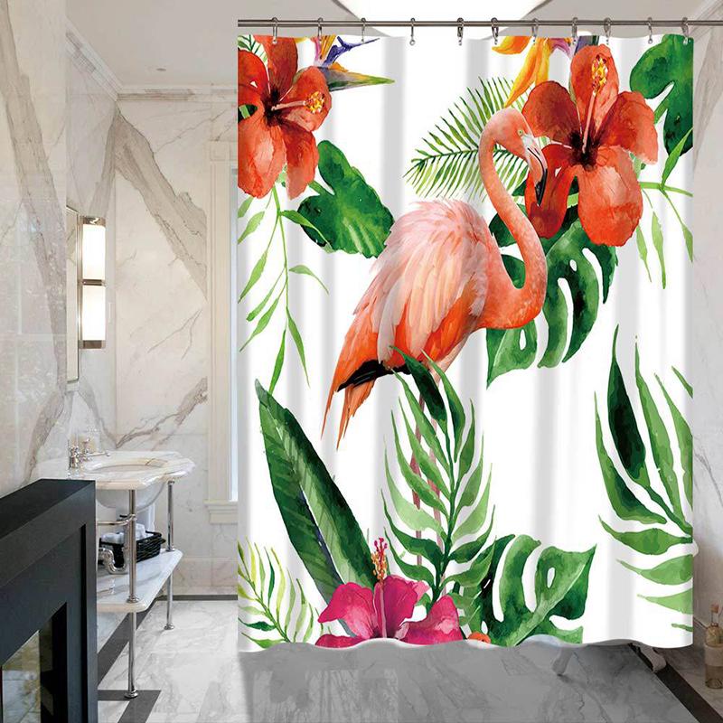 Flamingo Bathroom Curtain Bath Curtain Thicken Waterproof Shower Curtain