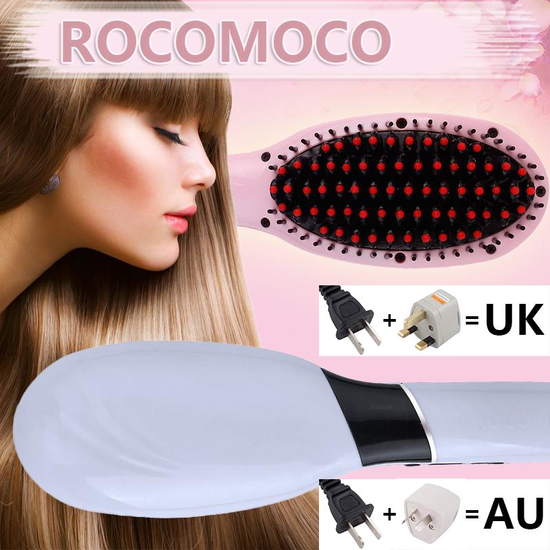 ROCOMOCO Electric Ceramic Flat Iron LCD Dispaly Hair Straightening Brush Free Travel Bag