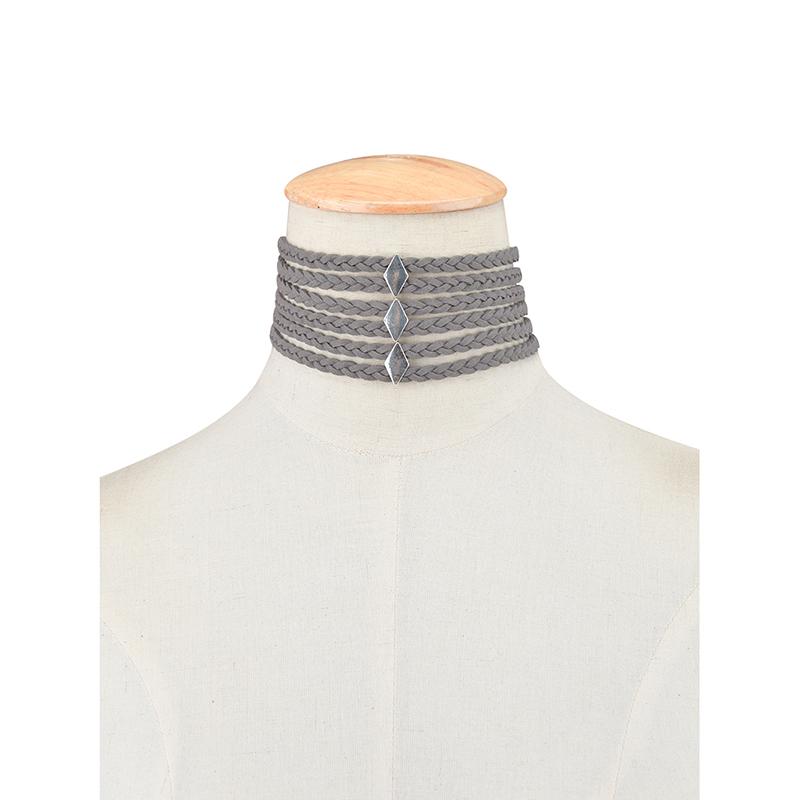 New Charm Velvet Rope Weave Choker Diamond Pendant Chain Necklace Gothic Punk Jewelry