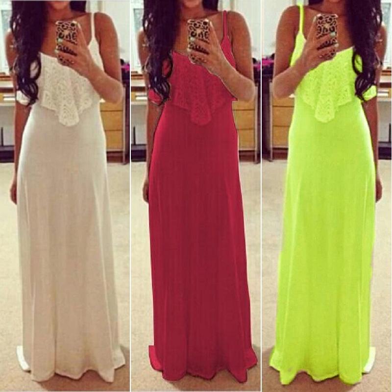 Womens Summer Bohemian Spaghetti Strap Sleeveless Lace Long Beach Maxi Dress