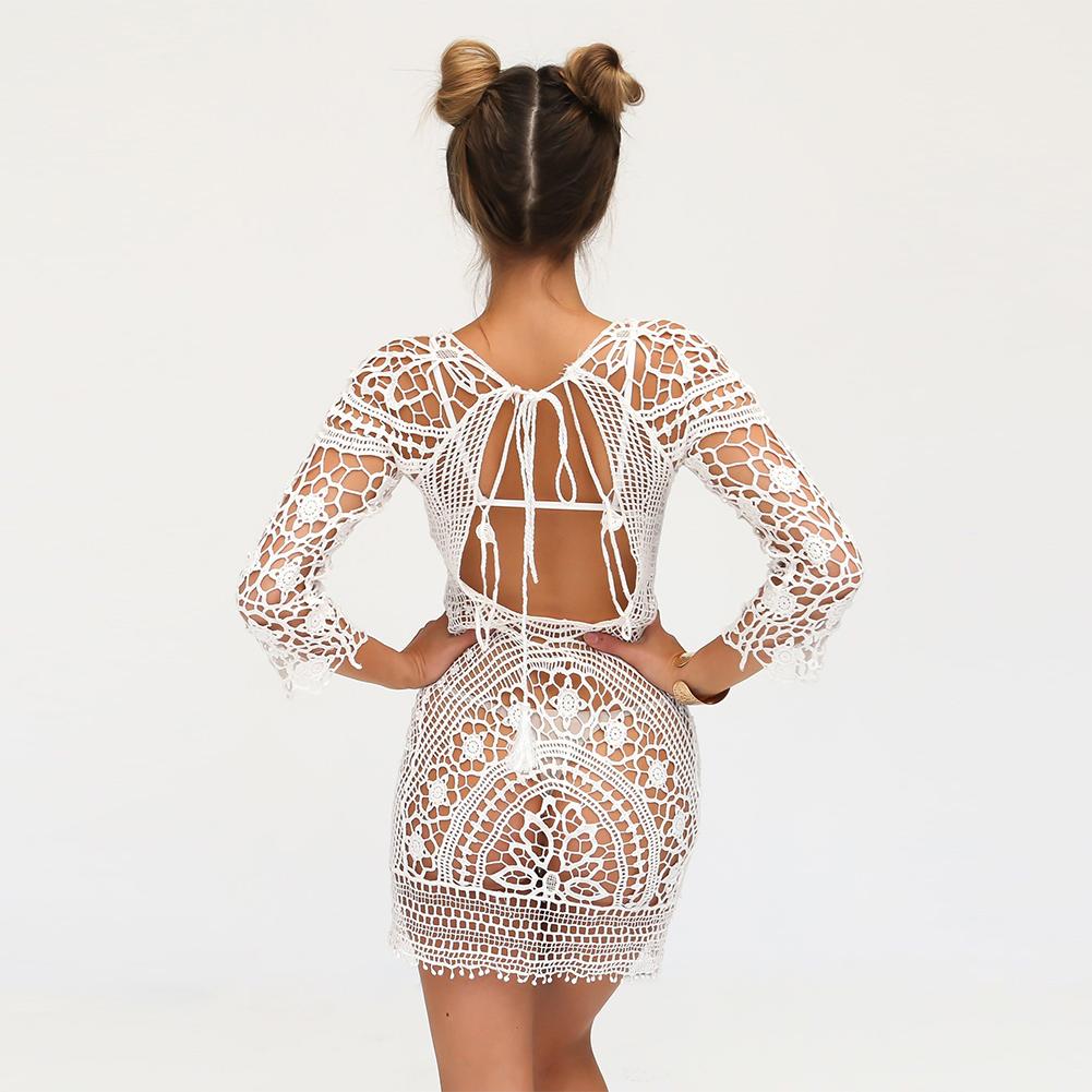 2017 New Women Lace Beach Dress Bikini Cover Up Summer Bathing Suit Crochet Swimwear