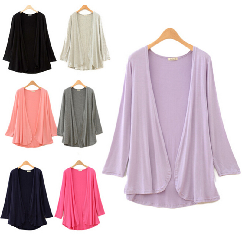 Spring/Autumn Women's Loose Flounce Hem Line Long Sleeve Solid Cardigan Coat