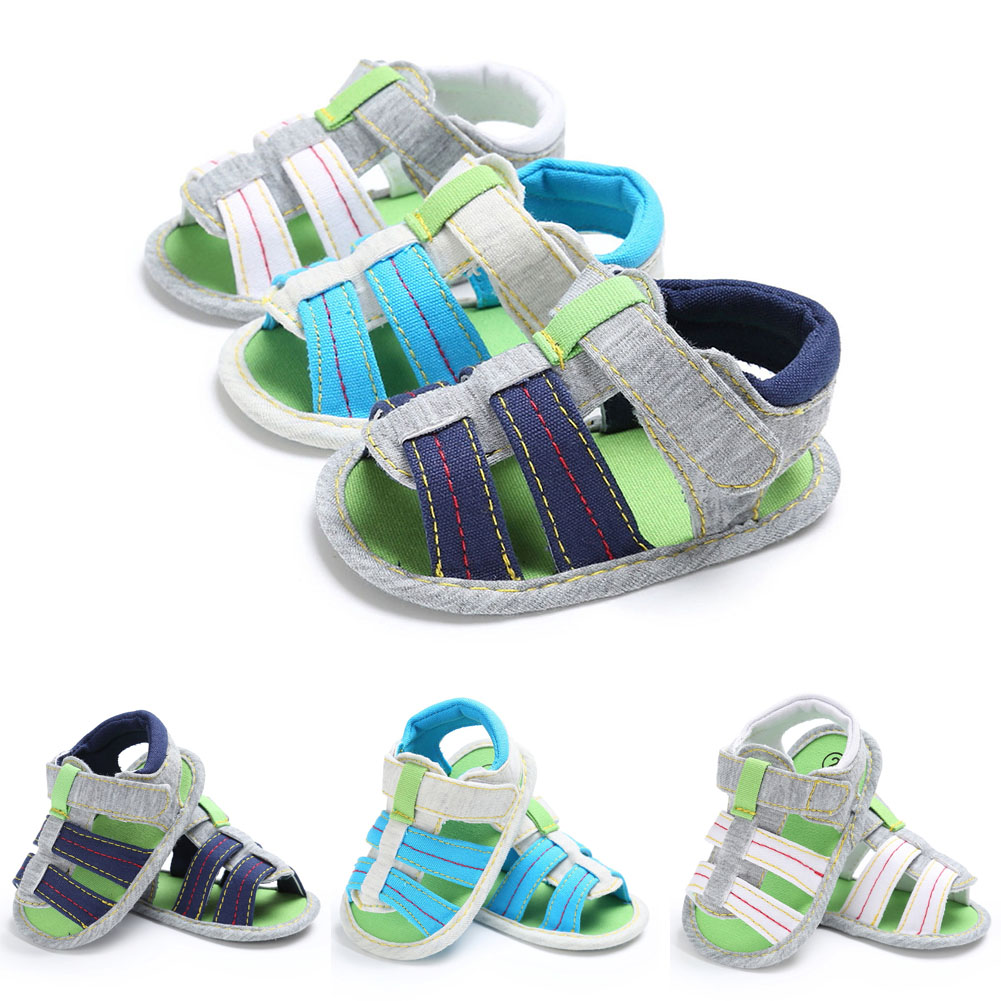 Newborn Infant Baby Soft Sole Stripe Shoes Kids Boy Anti-slip Prewalker Sandles