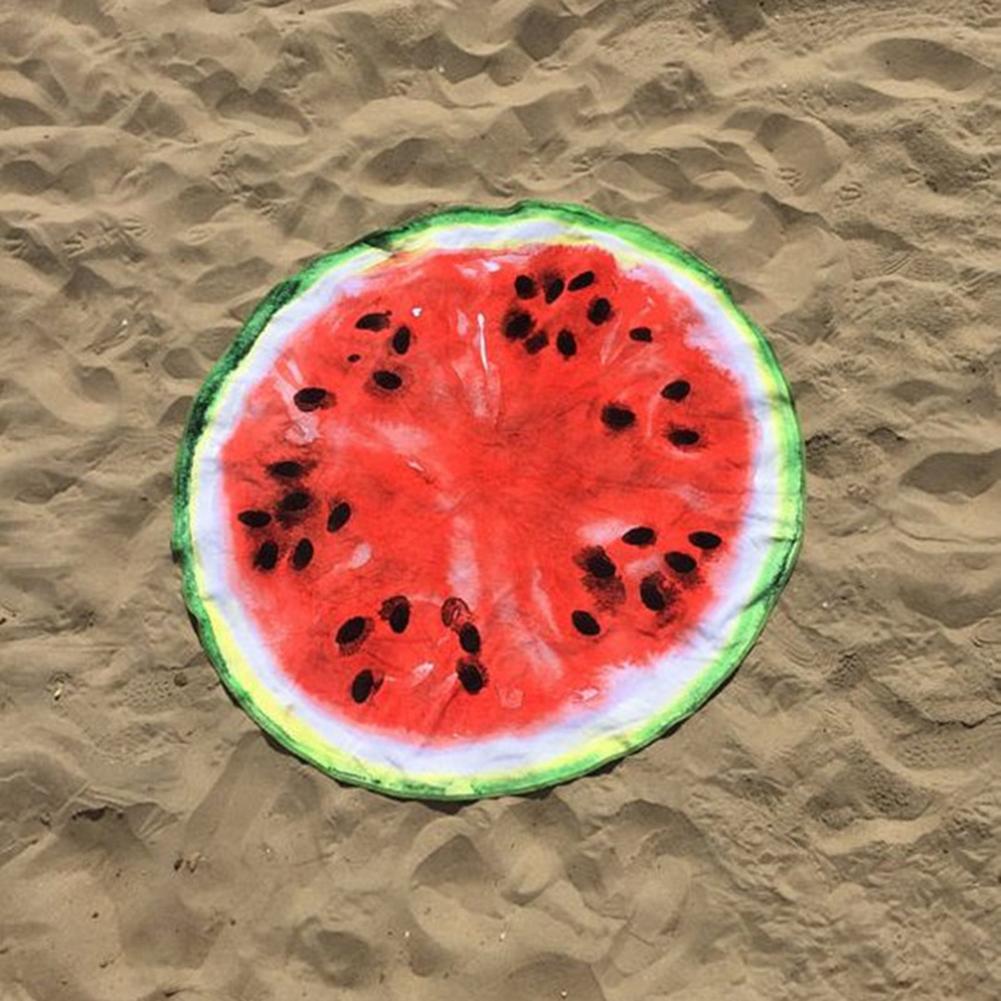 Women Summer Beach Cover Up Chiffon Shawl Large Watermelon Shaped Bath Towel Yoga Mat Blanket Table Bikini Cover Up