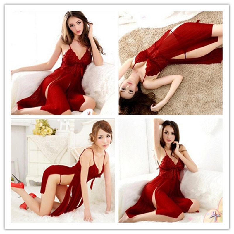 New Women's Sexy Lingerie Babydoll Sleepwear Underwear G-string Nightwear Lace Dress