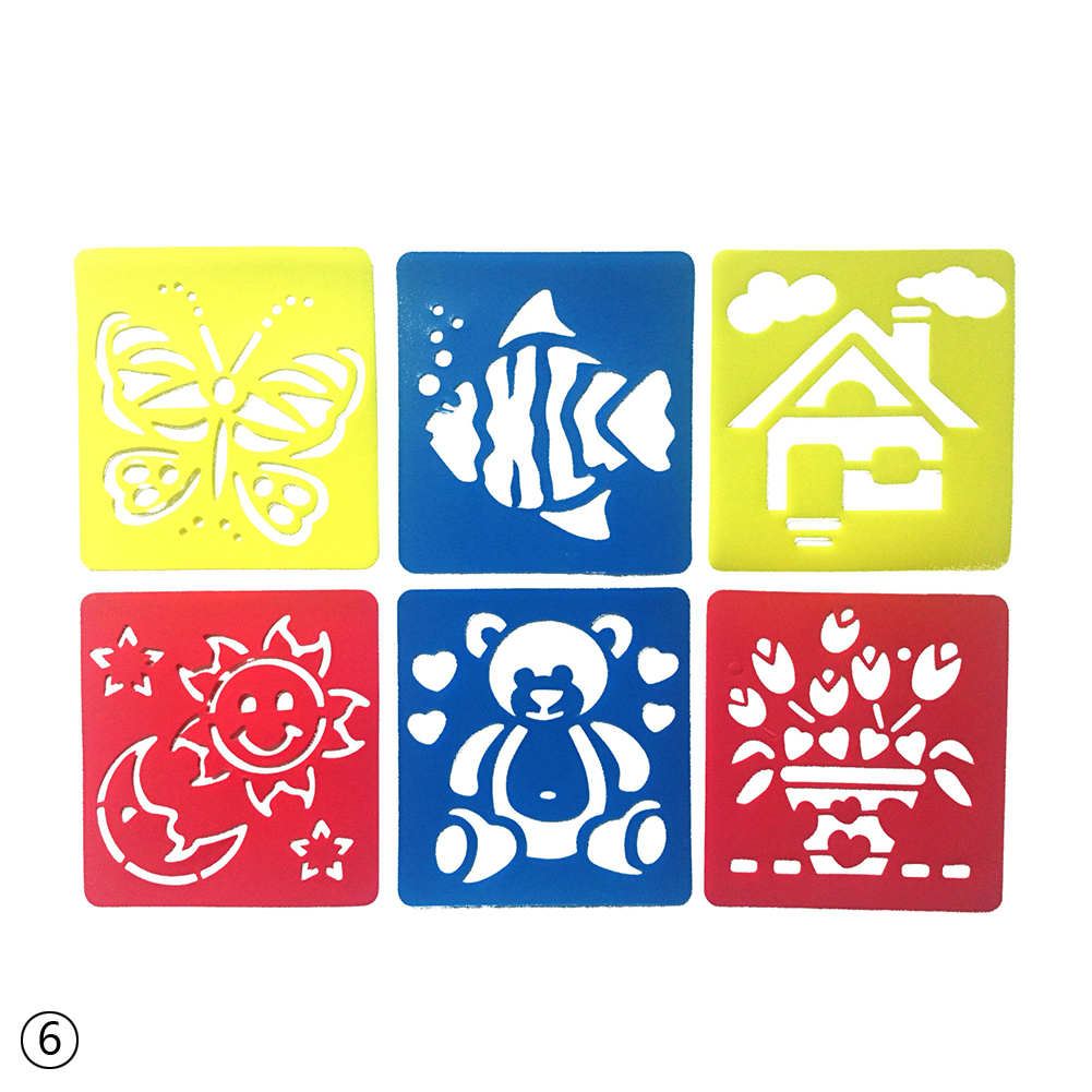 6PCS DIY Plastic Picture Drawing Template Stencils Rulers Painting For Kids Gift