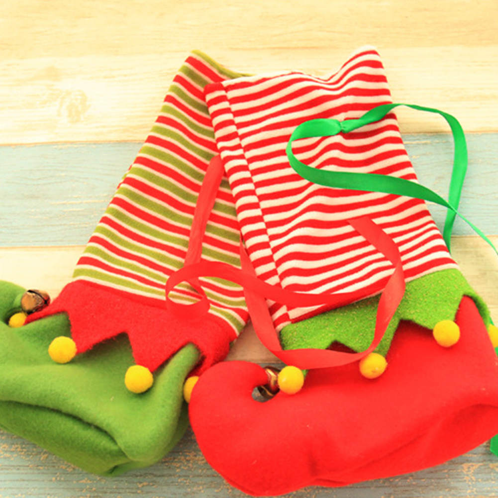 Christmas Socks Elk Pattern Stocking Gift Bag Party Candy Cookies Storage Decor